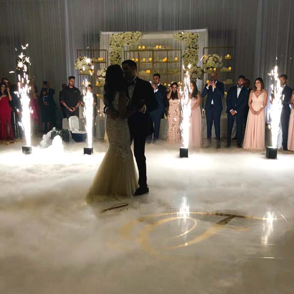 Divinity DJ - Couple Dancing with Dry Ice and Sparklers